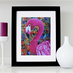 "Flamingo print -  Flamingo wall art - Flamingo Magic - 8x10"" (unmatted/unframed)"