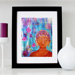 "Buddha print - Buddha wall art -  Buddha decor - 8x10"" matted print (unframed)"