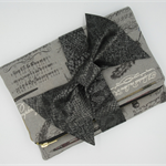 Ladies Fold over Clutch - Old World Script with Faux Snakeskin Bow.