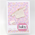 Baby Girl Card - Hand Knitted jumper
