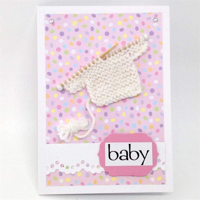 d2cdf758e Baby Girl Card - Hand Knitted jumper