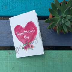 Mother's day card watercolour heart