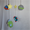 Crocheted space baby mobile