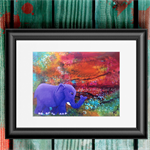 "Elephant art - Elephant print - The Journey - 8x10"" matted print (unframed)"