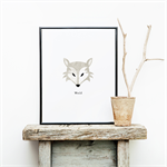 Children's Wolf Wall Print - Watercolour Detail