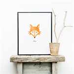 Children's Fox Wall Print - Watercolour Detail