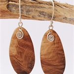Australian Victoria Desert Mallee Burl Wood and Sterling Silver Ecofriendly Earr