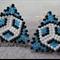 Blue Triangle Beaded Earrings