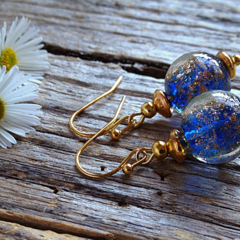 Blue,Gold Sand Glass Bead Earrings