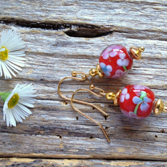 Red Floral Lampwork Glass Bead Earrings