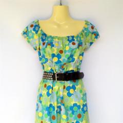 Ladies 8 to 14 Blue Floral Peasant Dress - daisy, flower, hippy, retro, boho