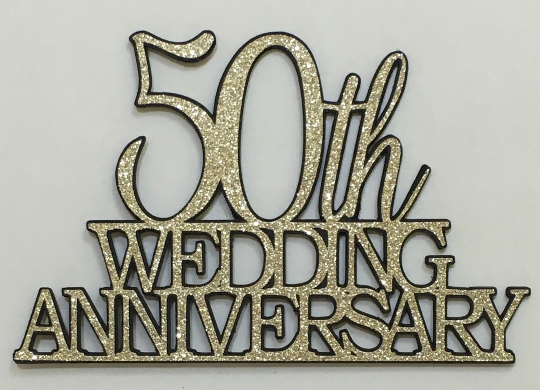 50th Wedding Anniversary Cake Topper Gold Glitter On Black