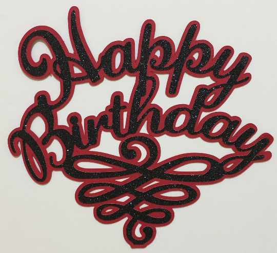 Happy Birthday Cake Topper Black Glitter On Red Background