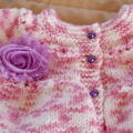 SIZE 1-2 years - knitted cardigan in pink & white: girl, washable, easy care