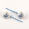 Blue Peter Rabbit - fabric covered button bobby pin
