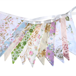 Vintage Bunting  Retro Multi-Colour Floral Flags. Party, Wedding Home Decoration