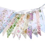 Vintage Bunting  Retro Multi-Colour Floral Flags. Party, Wedding Home Decoration