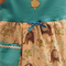 Girl's dress size 2 - 3 with elephants on cream background with aqua blue bodice