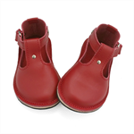 Handmade red leather children's shoes.  Red leather T-bar Mary Janes
