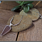 CARAMEL SLICE, SEA GLASS, STERLING SILVER NECKLACE