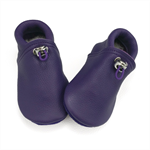 Handmade purple leather lambswool lined soft soled baby shoes.
