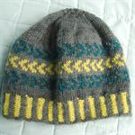 Hand Knitted Fair Isle Beanie, Handspun, Hand Dyed Pure Wool,  Child / Teen
