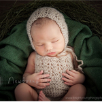Mohair Romper and Bonnet Set / Newborn Photography Prop / Unisex Baby Gift