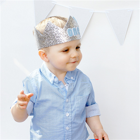 First Birthday Crown  - Silver Glitter and Blue - Cake Smash - photo prop