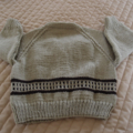 SIZE 2 years; knitted cardigan, camel & dark brown: boy, washable