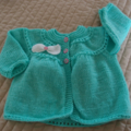 SIZE 1 - 2 Hand knitted cardigan mint green: girl, washable, spring, autumn