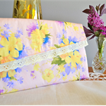 Pastel pink clutch, gift for Mum, Floral wallet, pretty fabric envelope