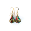 Lapis Lazuli, Turquoise and Coral Nepalese Earrings