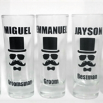 Personalised Shot Glasses for the Groom to be.