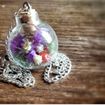Real Flower Necklace, Glass Orb Necklace