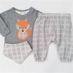 Foxy Harems Set - Grey Circles - Baby Boy - Retro - Top - Pants - Bib