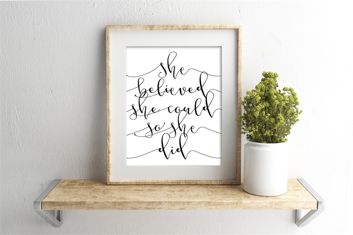 Typography Mono Calligraphy Print She Believed Could So Did A4 Full Of Grace Designs Madeit Au