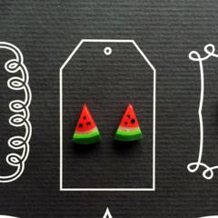 polymer Watermelon slice stud earrings