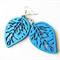 Blue Wooden Leaf Earrings