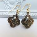 Antique Gold Quatrefoil Clover Earrings