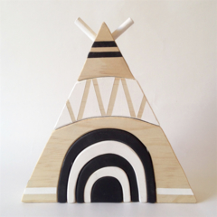 Hand painted wooden TeePee stacker with rainbow door. (8 Piece)
