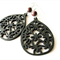 Black Wooden Earrings with Brown Stone Beads