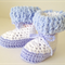 Crochet White and Blue Baby Uggs/Boots - Fits 6 - 12 months