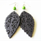 Dark Brown Wooden Leaf and Green Stone Earrings