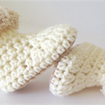 Crochet Cream and Beige/Caramel Baby Uggs/Boots - Fits Birth - 3 months