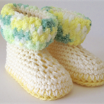Crochet Cream and Yellow Baby Uggs/Boots - Fits 6 - 12 months