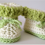 Crochet Cream and Green Baby Uggs/Boots - Fits Birth - 3 months