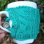 Cable Knit Mug Warmer Green