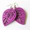 Purple Leaf Wooden Earrings