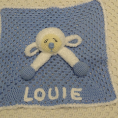 Lamb Lovey, Crochet Lovey, Baby Boy Gift, Baby Gift, Baby Shower Gift,