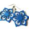 Blue Wooden Flower Earrings